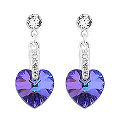 Jon Richard - Purple crystal heart drop earring MADE WITH SWAROVSKI CRYSTALS