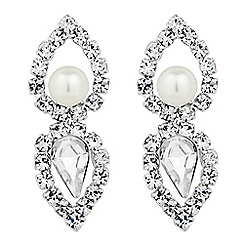 Jon Richard - Pearl and crystal open drop earring