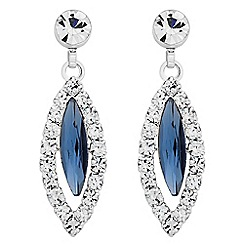 Jon Richard - Blue navette diamante drop earring
