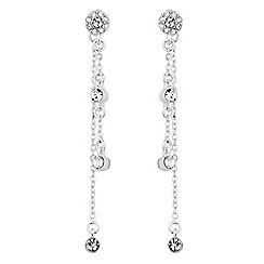 Jon Richard - Silver clara crystal front and back drop earring