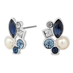 Alan Hannah Devoted - Designer blue crystal and pearl cluster stud earring