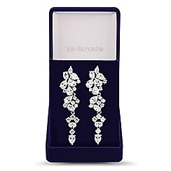 Jon Richard - Allure Collection Silver cubic zirconia statement cluster leaf drop earring