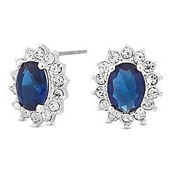 Alan Hannah Devoted - Designer blue crystal surround silver stud earring