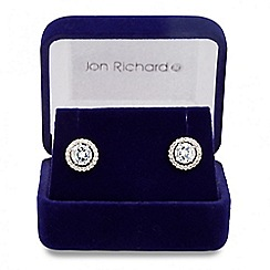 Jon Richard - Allure Collection Silver cubic zirconia pave surround stud earring