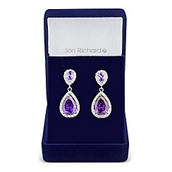 Jon Richard - Allure Collection Purple pear and oval cubic zirconia drop earring
