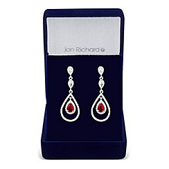Jon Richard - Allure Collection Red cubic zirconia triple peardrop earring