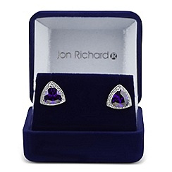 Jon Richard - Purple cubic zirconia trilliant stud earring