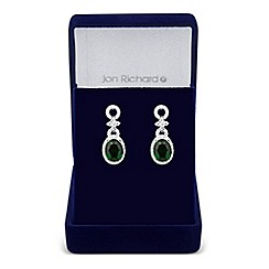 Jon Richard - Allure Collection Green oval cubic zirconia circle drop earring