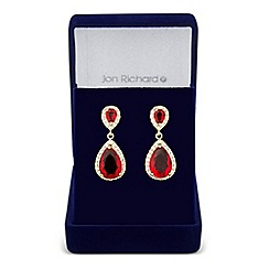Jon Richard - Allure Collection Red cubic zirconia double drop earring