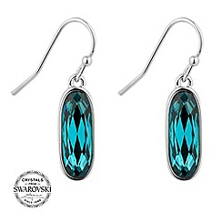 Jon Richard - Silver indicolite crystal oval drop earring MADE WITH SWAROVSKI CRYSTALS