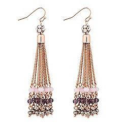Jon Richard - Purple beaded multi chain drop earring