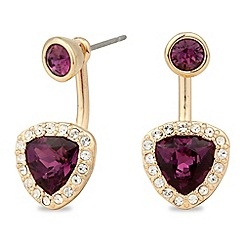 Jon Richard - Gold purple trilliant crystal front and back earring MADE WITH SWAROVSKI CRYSTALS