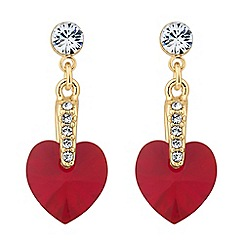 Jon Richard - Gold red heart crystal drop earring MADE WITH SWAROVSKI CRYSTALS