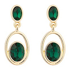 Jon Richard - Gold green crystal oval drop earring MADE WITH SWAROVSKI CRYSTALS