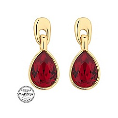 Jon Richard - Gold red crystal peardrop earring MADE WITH SWAROVSKI CRYSTALS
