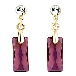 Jon Richard - Gold lilac baguette crystal drop earring MADE WITH SWAROVSKI CRYSTALS