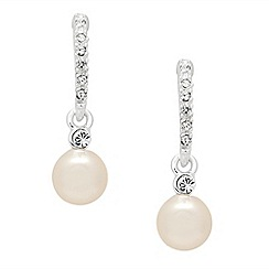 Jon Richard - Silver pave stick pearl drop earring