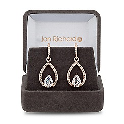 Jon Richard - Rose gold cubic zirconia peardrop earring