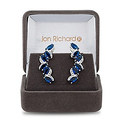 Jon Richard - Lustre Collection Blue cubic zirconia pave leaf ear climber earring