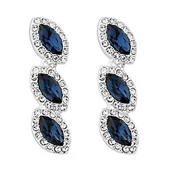 Jon Richard - Blue crystal triple stone drop earring