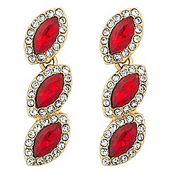 Jon Richard - Red crystal triple stone drop earring