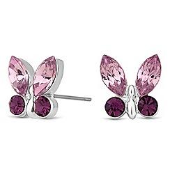 Jon Richard - Purple crystal butterfly stud earring