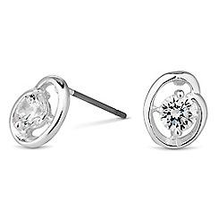 Jon Richard - Silver cubic zirconia open swirl stud earring