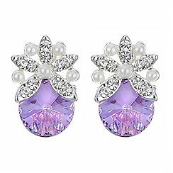 Jon Richard - Pearl flower pink crystal earring