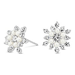 Jon Richard - Pearl and crystal floral stud earring