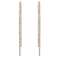 Jon Richard - Gold diamante double drop chain earring