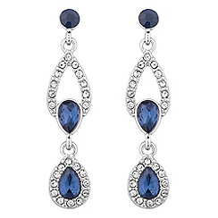 Alan Hannah Devoted - Designer double peardrop blue crystal silver earring