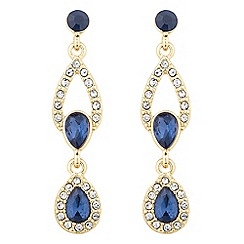 Alan Hannah Devoted - Designer double peardrop blue crystal gold earring