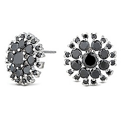 Jon Richard - Jet cubic zirconia circle stud earring