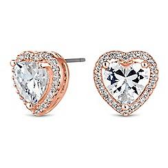 Jon Richard - Jon Richard Silver pave heart stud earrings