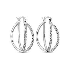 Jon Richard - Silver double row hoop earring