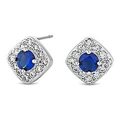 Jon Richard - Blue cubic zirconia pave stud earring