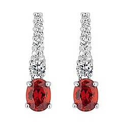 Jon Richard - Red oval drop pave stick earring