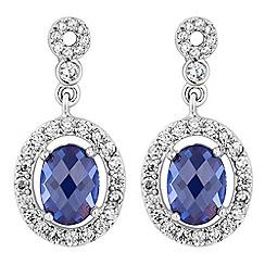 Jon Richard - Silver cubic zirconia oval drop earring