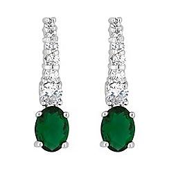 Jon Richard - Green oval drop pave stick earring