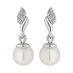 Jon Richard - Silver micro pave pearl earring