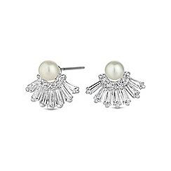 Jon Richard - Silver pearl fringe stud earring