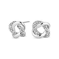 Jon Richard - Silver crystal open knot stud earring