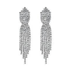 Jon Richard - Silver diamante twist drop earring