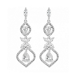 Alan Hannah Devoted - Silver floral drop earring