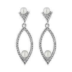 Jon Richard - Silver pave open navette pearl earring