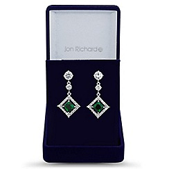 Jon Richard - Green cubic zirconia square earring