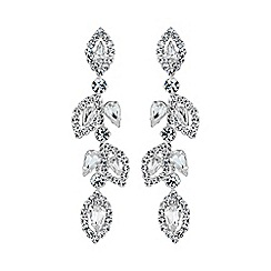 Jon Richard - Silver diamante leaf drop earring