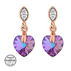 Jon Richard - Pink heart crystal earring MADE WITH SWAROVSKI CRYSTALS