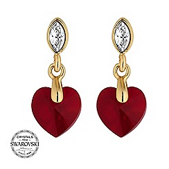 Jon Richard - Red heart earring MADE WITH SWAROVSKI CRYSTALS