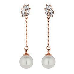 Jon Richard - Rose gold pearl chain drop earring
